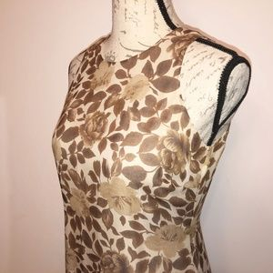 INC Brown and beige leaf patterned full length 6P